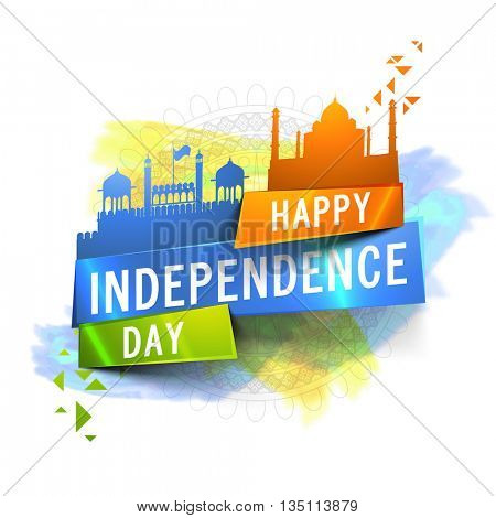 Indian Flag colour, Glossy Paper Tag with illustration of Red Fort and Taj Mahal on abstract background for Happy Independence Day celebration.