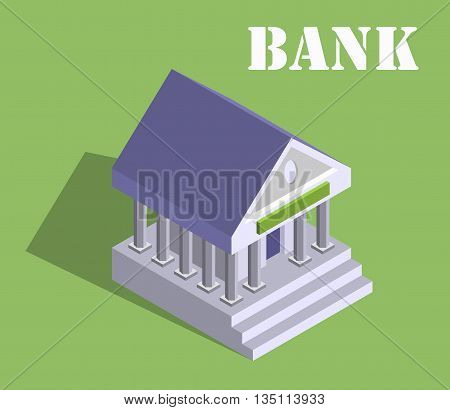 Bank finance money flat 3d web isometric infographic banking monetary concept vector. Loan, credit and financial service. Eps10 vector