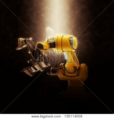 3D Render of an Industrial Robot Arm on a dramatic background