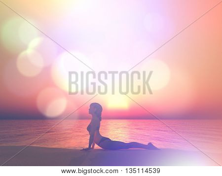 3D render of a female in a yoga pose against a sunset ocean with retro effect