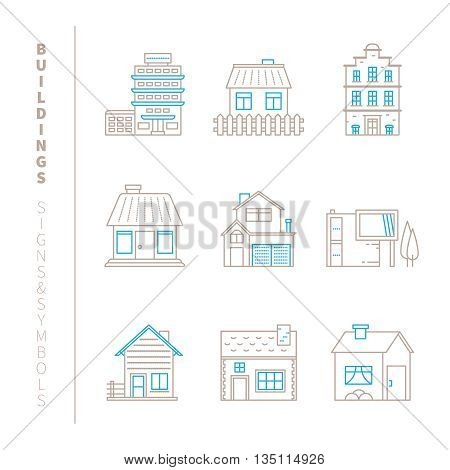 Set Of Vector Buildings Icons And Concepts In Mono Thin Line Style