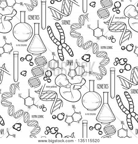 Graphic genetic research set. Vector medical and science seamless pattern. Coloring book page design for adults and kids