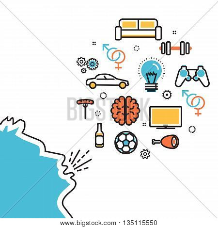 Flat line illustration of man shouts and talk about their favorite interests wanted dream idea desire wish. Website blog banner infographic elements logo icon and thought process