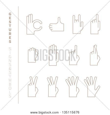 Set Of Vector Hand Gestures In Mono Thin Line Style