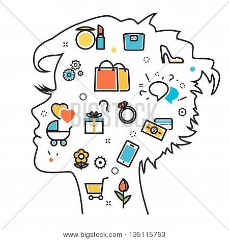 Flat line illustration of thought process what women wanted dream idea desire wish habits stereotypes into woman head woman favorite interests. Website blog banner infographic elements