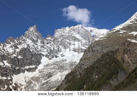 Mont Blanc Summit from Courmayeur in Italy