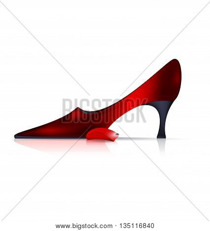 white background and the red ladys shoe with petal