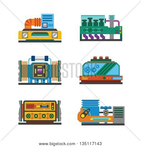 Industrial Parts Vector Set In Flat Style