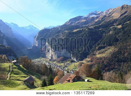 valley of Lauterbrunnen, famous resort in Jungfrau region of Switzerland