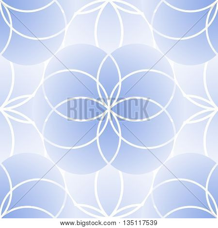 Graphic sacred geometry seamless pattern. Vector flower of life in gentle blue colors