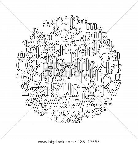 Handwritten calligraphic script. Ornate graphic alphabet. Vector font drawn in line art style. Uppercase and lowercase letters and numerals isolated on white background