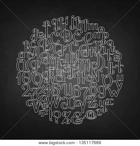 Handwritten calligraphic script. Ornate graphic alphabet. Vector font drawn in line art style. Uppercase and lowercase letters and numerals isolated on chalkboard