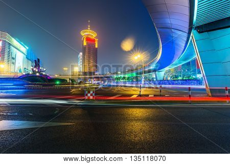 light trails through pedestrian bridge ,shanghai