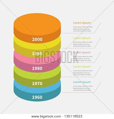 Infographic with dash line and text. Timeline vertical round colorful segment stack. Template. Flat design. White background. Isolated. Vector illustration