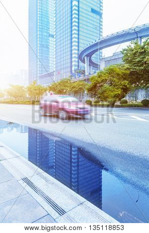 blurred motion traffic in the downtown districtï¼?chongqing china.