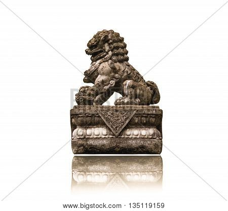 statue of Imaginary Animals lion isolated on a white background