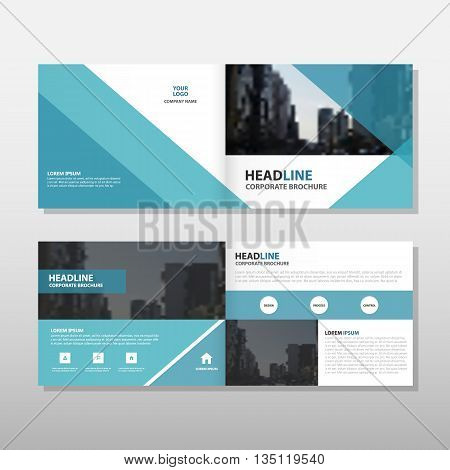 Blue triangle business trifold Leaflet Brochure Flyer report template vector minimal flat design set abstract presentation layout templates a4 size