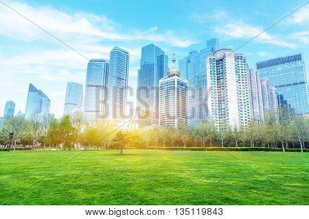 cityscape under blue sky,shandong province