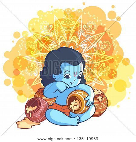 Little Cartoon Krishna With A Pot Of Makhan.