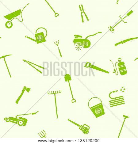 Seamless pattern of garden tools. Background of garden tool icons. Gardening equipment. Agriculture tools. Vector illustration.