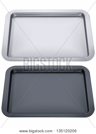 Empty tray isolated. 3D vector illustration .