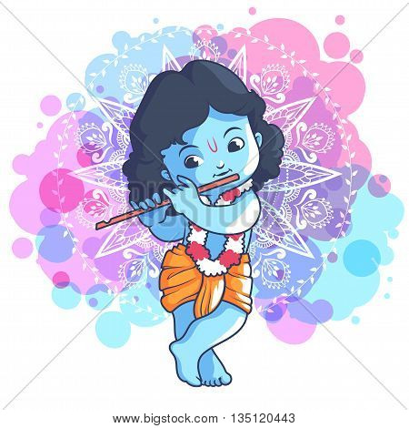 Little Cartoon Krishna With A Flute.