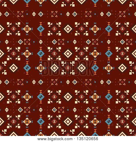 Geometric red ethnic seamless pattern. Abstract aztec background. Digital or wrapping paper