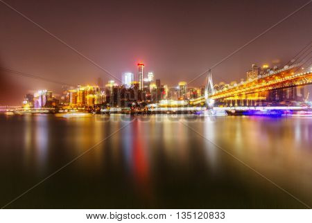 Cityscape of Chongqing at nightï¼?china.
