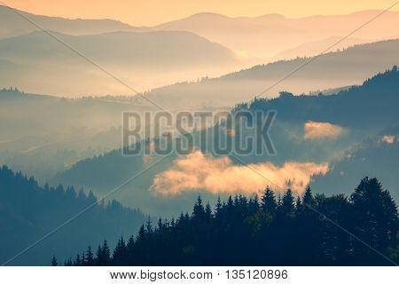 Mountains Range at early morning, beautiful landscape background, Carpathian, Ukraine, Europe