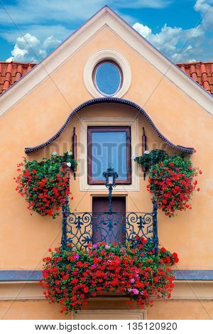 Beautiful old traditional balcony flowers decorated, Europe