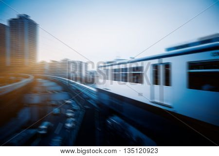 light rail moving on railway in chongqing