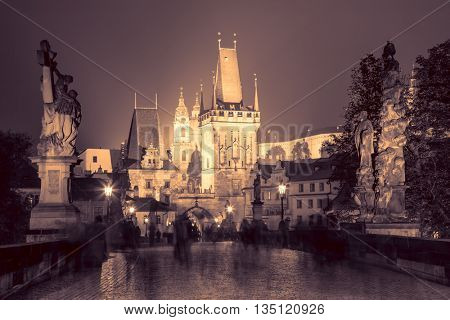 Charles Bridge in Prague at night - vintage colors toned, Czech, Europe