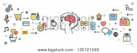 Flat line design concept of thought process what woman wanted dream idea desire wish habits stereotypes favorite interests for website blog banner and landing page. Infographic icon elements
