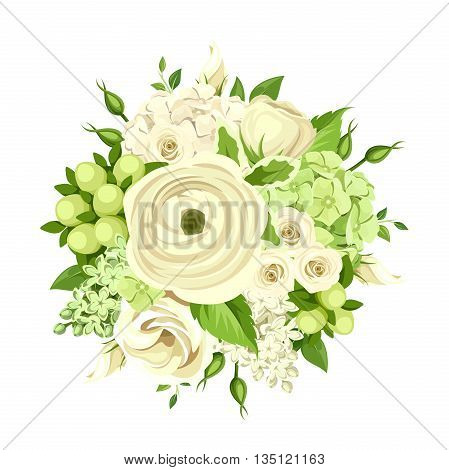 Vector bouquet with white and green roses, ranunculus, lisianthus and hydrangea, flowers isolated on white.