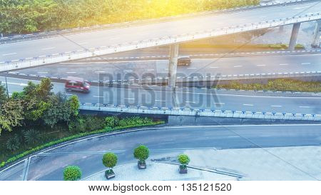 aerial view of traffic on chongqing overpass on a sunny day,china