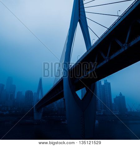 skyline,river and bridge,chongqing china.