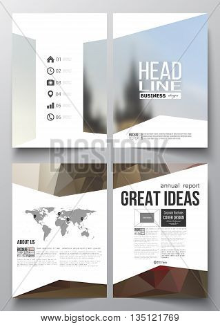 Set of business templates for brochure, magazine, flyer, booklet or annual report. Polygonal background, blurred image, urban landscape, Prague cityscape, modern triangular texture.