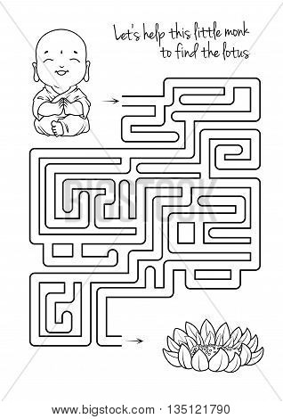 Maze game for kids with monk and lotus. Let's help this little monk to find his way to the lotus. Vector template page with game in black and white style.
