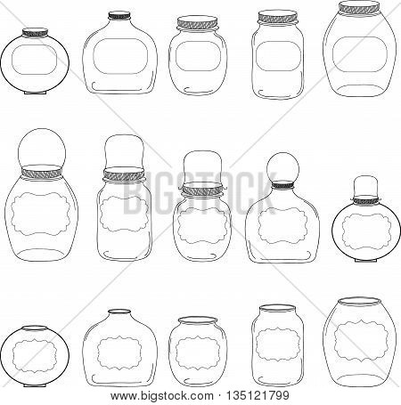 Jars set, jar with label, silhouettes jar, vector illustration