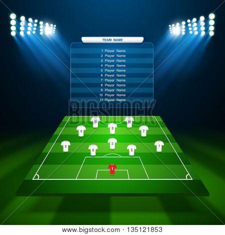 Soccer field with scoreboard, Soccer field, vector
