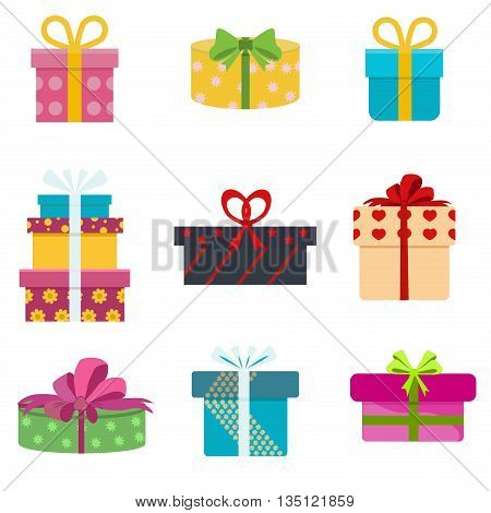 Vector set of different gift boxes. Flat gift box decoration design. Present box, holiday surprise birthday gifts and gifts paper package shopping, color greeting box anniversary party symbol.