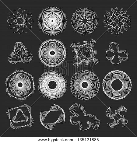 Collection of Round Decorative Frames geometric shape Labels, Lines, Symmetric Geometric Shapes and Natural Elements. Vector set of outline emblems and badges abstract hipster vintage templates.