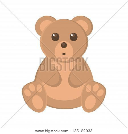 Cute baby bear cartoon vector illustration. Brown bear cartoon toy character vector illustration and wild bear nature zoo mammal bear. Cartoon bear kid toy. Wildlife bear animal.