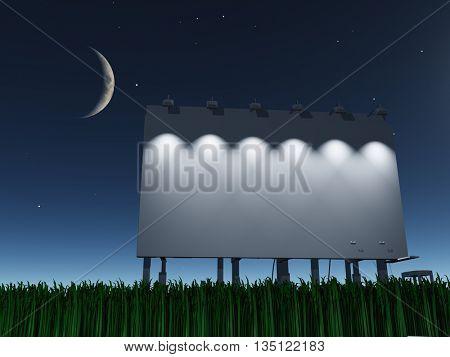 Night roadside billboard 3D Render