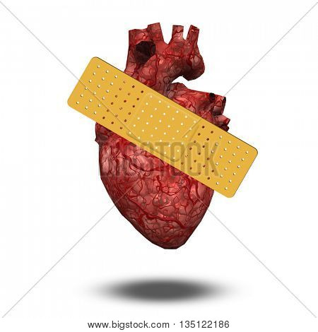 Heart with bandage 3D Render