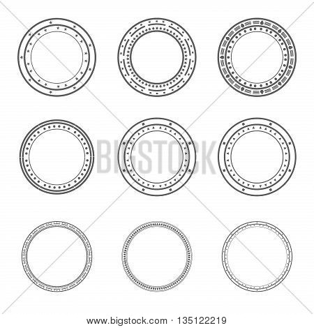 Set of vector decorative elements, used pattern brushes included. Round frames ornamental strokes, black stripe ornaments. Decorative frames and borders set vector. Collection of round border frames.
