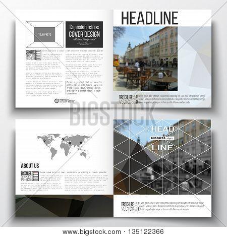 Vector set of square design brochure template. Polygonal background, blurred image, urban landscape, cityscape, modern triangular texture.