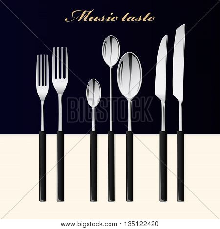 Cutlery. Spoon, fork and knife stacked up on a black-white background.