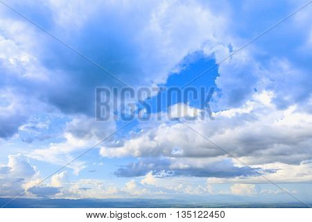 Beautiful blue sky with clouds sky daylight. Natural sky composition. Outdoors.