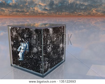 Astronaut and space captured in clear box in surreal scene 3D Render